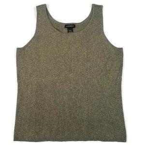 Lane Bryant | Green Knit Woven Glitter Tank Top